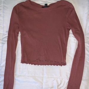 Mauve long sleeve cropped top